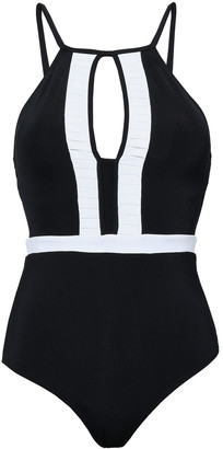 Jets Cutout Two-tone Swimsuit