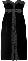 Miu Miu Ruffled Silk Taffeta-trimmed Velvet Midi Dress - Black