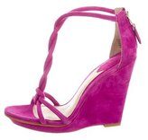 Brian Atwood Woven T-Strap Wedges