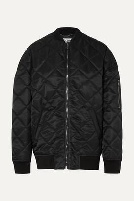 Moschino Oversized Embellished Quilted Shell Bomber Jacket - Black