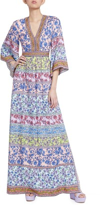 Alice + Olivia Lena Mixed Print Maxi Dress
