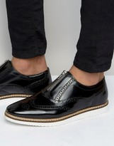 Asos Brogue Shoes in Black Leather With Center Zip