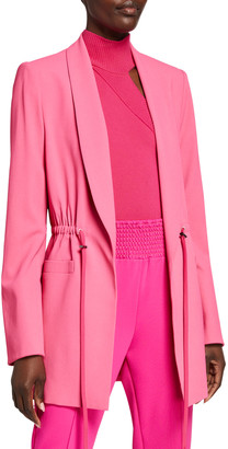 Alice + Olivia Kylie Easy Shawl-Collar Jacket with Drawstring Waist