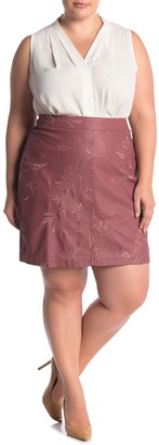 City Chic Sweetly Leaf Embroidered Faux Leather Mini Skirt (Plus Size)
