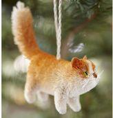 Pottery Barn Bottlebrush Orange Tabby Cat Ornament