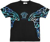 Young Versace Rubberized Print Cotton Jersey T-Shirt
