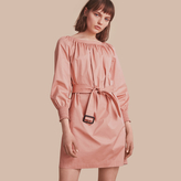 Burberry Smocked Cuff Stretch Cotton Dress
