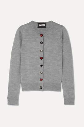 Markus Lupfer April Embellished Merino Wool Cardigan - Gray