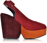 Robert Clergerie Dylanal Color Block Suede Wedge Sandal