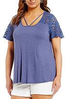 Blu Pepper Plus Lace Inset Knit Top