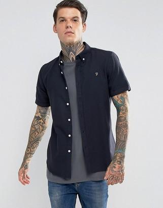 Farah Long Sleeve Slim Shirt-Navy