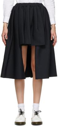 Comme des Garçons Comme des Garçons Navy Short Front Midi Skirt