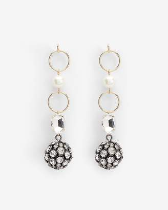 Express Tiered Pearl Crystal Ball Post Back Drop Earrings