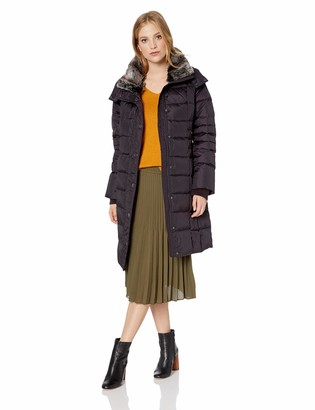 London Fog Women's Horizontal Quilt Snap Front Down Coat with Faux Fur Collar