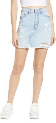 Tinsel Ripped Denim Miniskirt