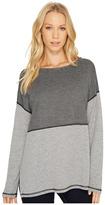 Three Dots Reversible Stripe/Dot Long Sleeve Tee Women's T Shirt