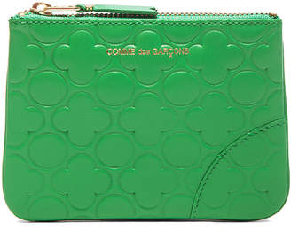 Comme des Garcons Clover Embossed Small Pouch in Green | FWRD