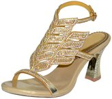 Vibur Seven Women's Poinciana Rhinestones Sheepskin Heeled Sandals