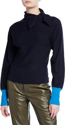 Cédric Charlier Contrast-Cuff Tie-Neck Sweater