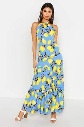 boohoo Woven Tie Neck Backless Tiered Maxi Dress