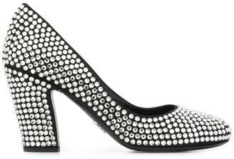 Prada embellished chunky heel 85mm pumps