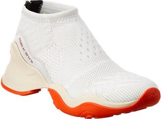 Fendi High Tech Jacquard & Leather Sneaker