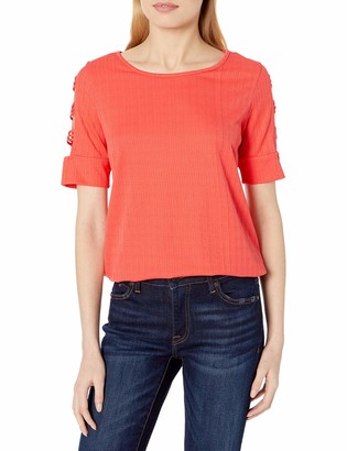 Amy Byer Women's Lattice SleeveTop