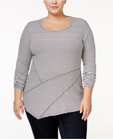 INC International Concepts Plus Size Striped Asymmetrical Tunic, Only at Macy's