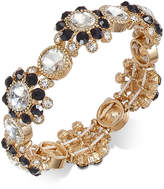 Charter Club Gold-Tone Clear & Jet Crystal Stretch Bracelet, Created for Macy's