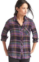 Gap Soft metallic plaid shirt
