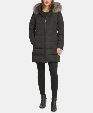 DKNY Petite Hooded Faux-Fur-Trim Water-Resistant Puffer Coat