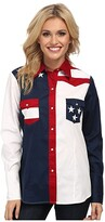 Roper Pieced Stars and Stripes Patriotic (Blue) Women's Long Sleeve Button Up