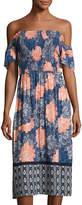 Hazel Smocked Off-the-Shoulder Dress, Blue Pattern