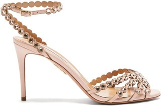 Aquazzura Tequila 85 Crystal-strap Leather Sandals - Light Pink