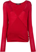 Balmain button-embellished crossover jumper