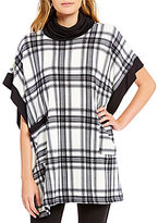 Bobeau Two Pocket Cowl Neck Plaid Poncho
