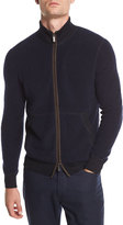 Ermenegildo Zegna Boucle Zip Bomber Sweater with Leather Detail