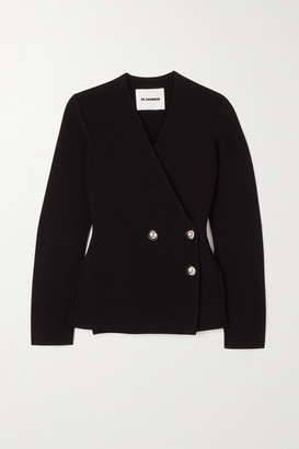Jil Sander Double-breasted Stretch-knit Cardigan - Black
