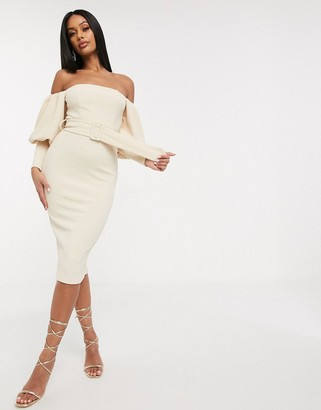 Asos DESIGN off shoulder puff sleeve belted textured mini pencil dress