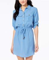 Be Bop Juniors' Roll-Tab Shirt Dress with Utility Pockets