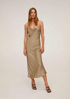 MANGO Draped neckline dress