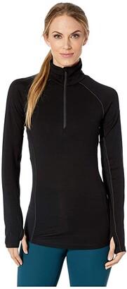 Icebreaker 150 Zone Merino Baselayer Long Sleeve 1/2 Zip (Black/Mineral) Women's Clothing