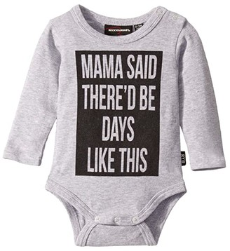 Rock Your Baby Mama Said Long Sleeve Bodysuit (Infant) (Grey Marle) Girl's Jumpsuit & Rompers One Piece