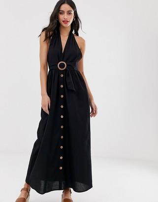 Asos Design DESIGN halter neck maxi dress with buckle-Black