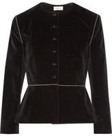 Isa Arfen Embroidered Stretch-velvet Blazer - Black