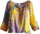Glam Yellow & Purple Abstract Cutout-Sleeve Blouson Top