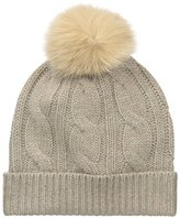 Sofia Cashmere Women's 100% Cable Hat with Fox Fur Pom