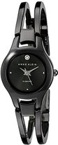 Anne Klein Women's AK/1915GYGY Diamond-Accented Gunmetal Bangle Watch