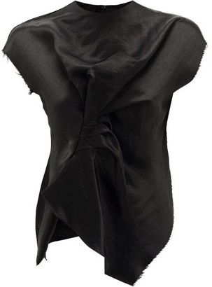 A.W.A.K.E. Mode Ruched Raw-hemmed Satin Top - Black