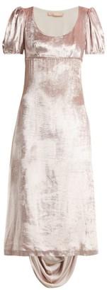 Brock Collection Docia Draped Velvet Midi Dress - Pink